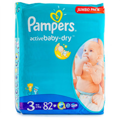 "Подгузники Pampers ""Active baby-dry Jumbo pack"" 3 midi (вес 6-10кг) 82 шт."
