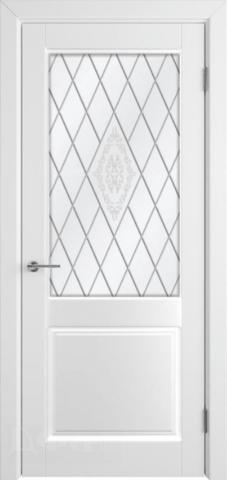 Дверь Румакс Ника-2 ДО, стекло сатинат бронза гравировка, цвет белый матовый, остекленная