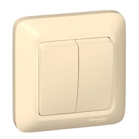 Выключатель двухклавишный 10 А 250 В в розничной упак. Цвет Слоновая кость. Schneider Electric(Шнайдер электрик). Prima(Прима). VS5U-218-SI