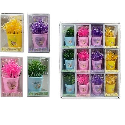 Подарочный набор цветов в горшочке с запахом 1кор*1бл*12шт