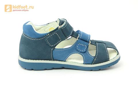 Детские сандалии Котофей 422059-21 из натуральной кожи, для мальчика, синие. Изображение 4 из 16.