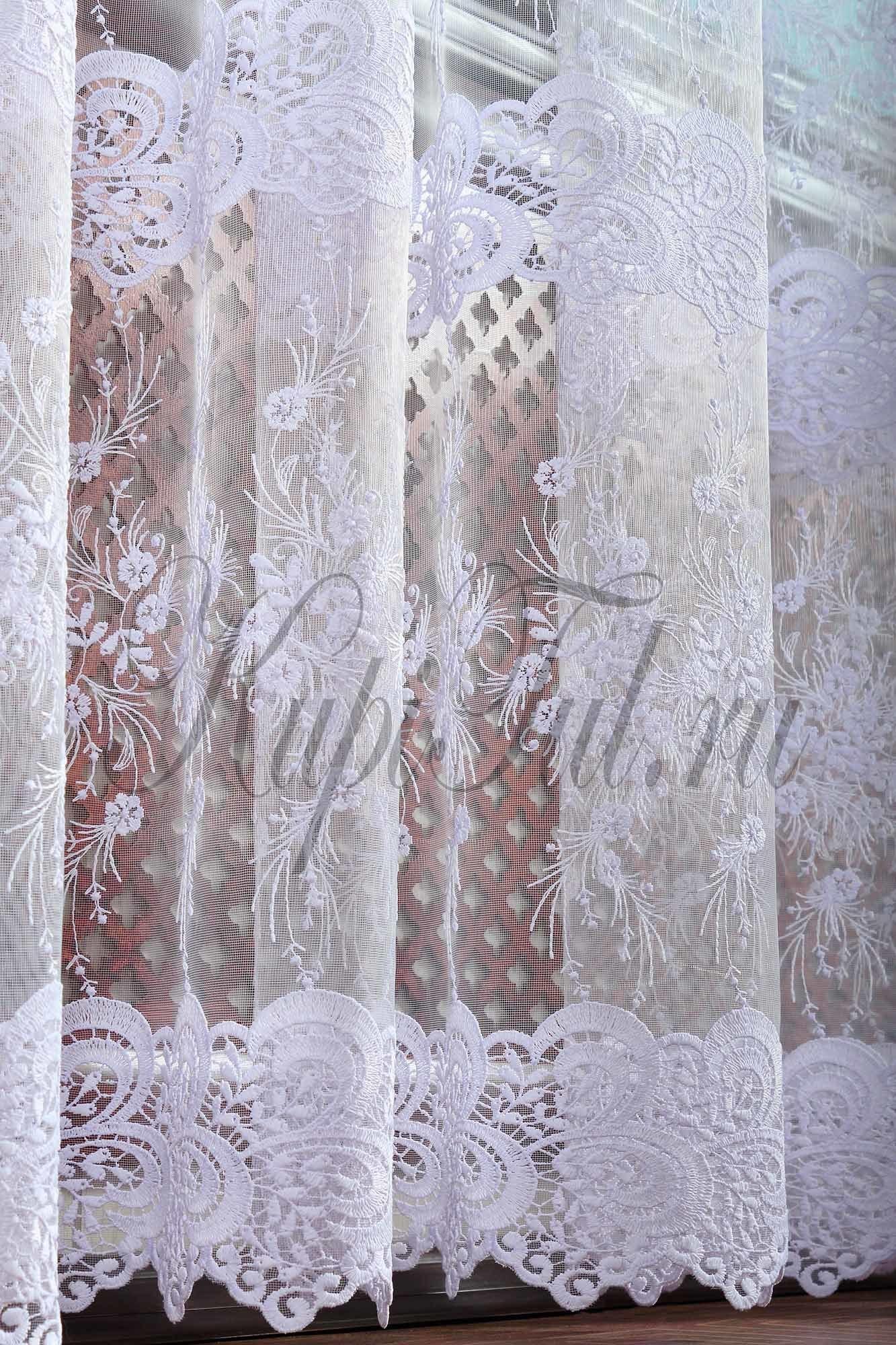 Микросетка с вышивкой Весна-2 (белая)