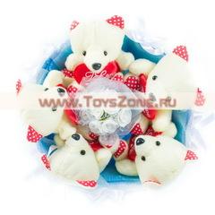 Букет из 5 мишек с сердечками — Голубой