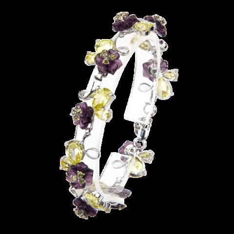 Браслет с цветами из фиолетового кварца и фианитами