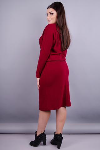 Моніка. Стильна сукня плюс сайз. Бордо.