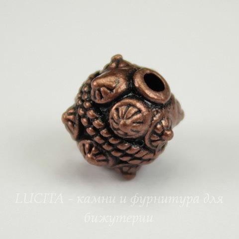 Бусина металлический шарик с шипами (цвет - античная медь) 10х10 мм