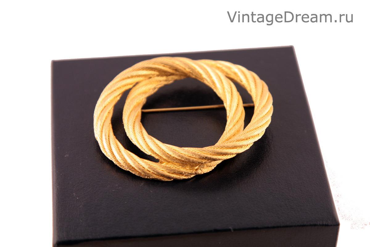 """Элегантная брошь """"Золотые кольца"""" от Christian Dior, 80-е гг."""