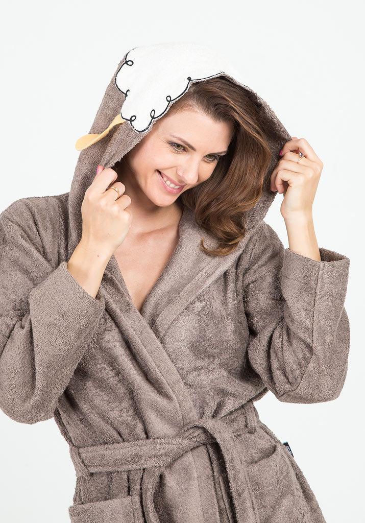 Махровый халат с овечьими ушками Happy people (Женские халаты)