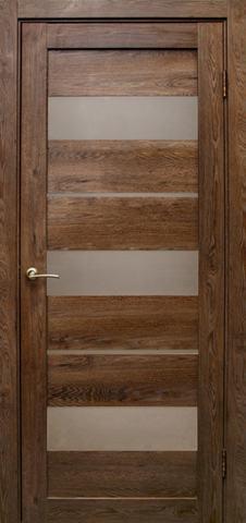 Дверь Эколайт Дорс Параллель, стекло белое матовое, цвет дуб шоколадный, остекленная