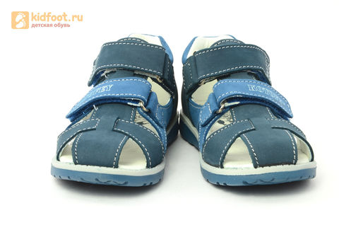 Детские сандалии Котофей 422059-21 из натуральной кожи, для мальчика, синие. Изображение 5 из 16.