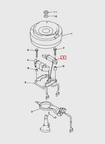 Катушка зажигания генератора  для лодочного мотора T15, OTH 9,9 SEA-PRO (8-3)