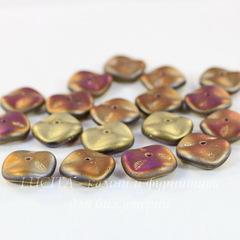 Бусина Ripple Волнистый диск, 12 мм, золотая с сине-фиолетовым матовая