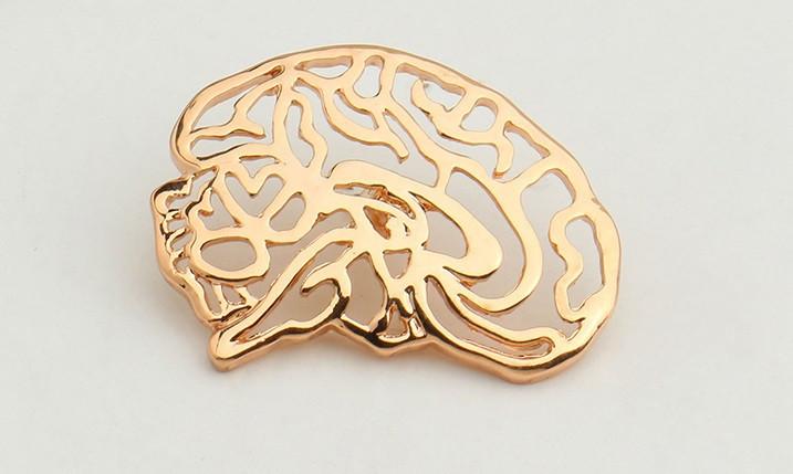Брошь Мозг (золотой цвет)