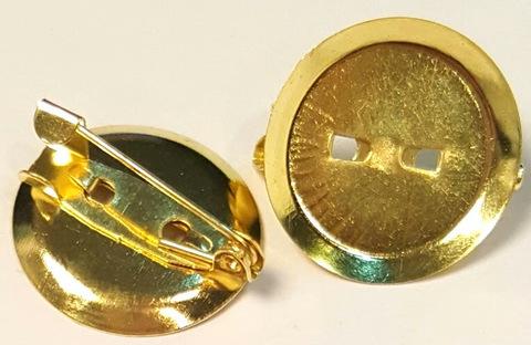 Основа для броши - диск 20мм золото