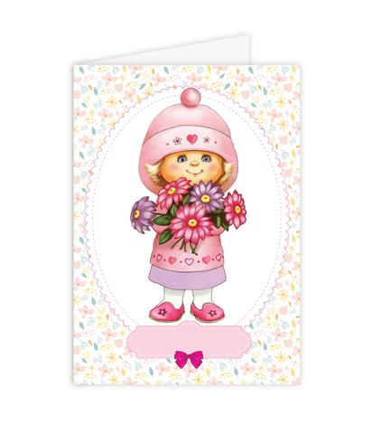 Открытка–папертоль Девочка с букетом – главное фото сюжета.