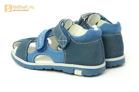 Детские сандалии Котофей 422059-21 из натуральной кожи, для мальчика, синие. Изображение 7 из 16.