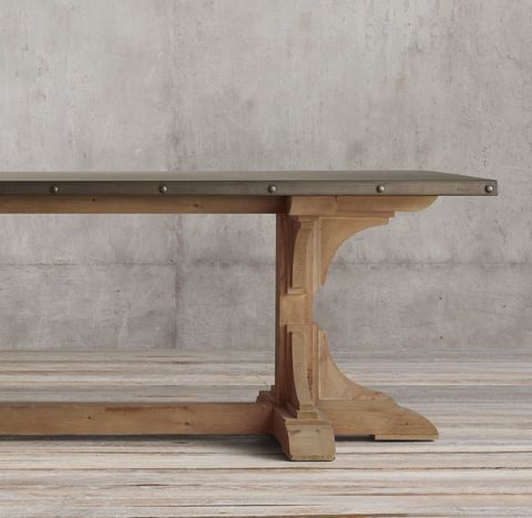 20th C. Reclaimed Pine & Zinc Trestle Rectangular Dining Table