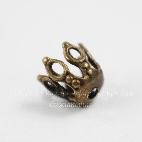 Винтажный декоративный элемент - шапочка 8х5 мм (оксид латуни)