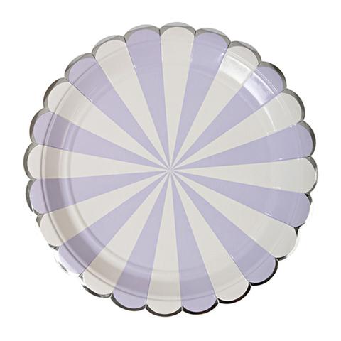 Тарелки  в лавандовую полоску, большие
