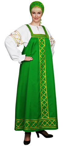 Русский народный костюм Ольга зелёный