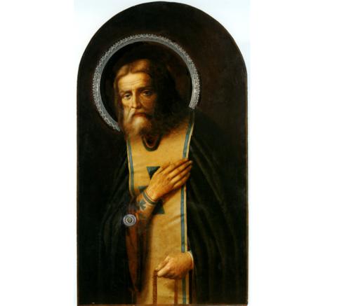 Икона святой Серафим Саровский арочная на дереве на левкасе мастерская Иконный Дом