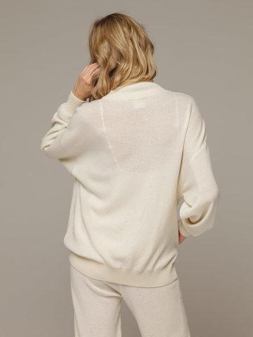 Женский белый джемпер на замке с высоким горлом из 100% кашемира - фото 5