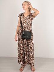 Евромама. Платье штапельное леопардовое для беременных и кормящих, коричневый