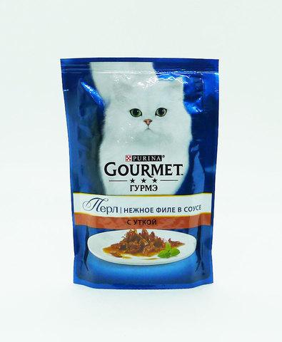 Gourmet Перл пауч для взрослых кошек кусочки в подливке (утка) 85 г