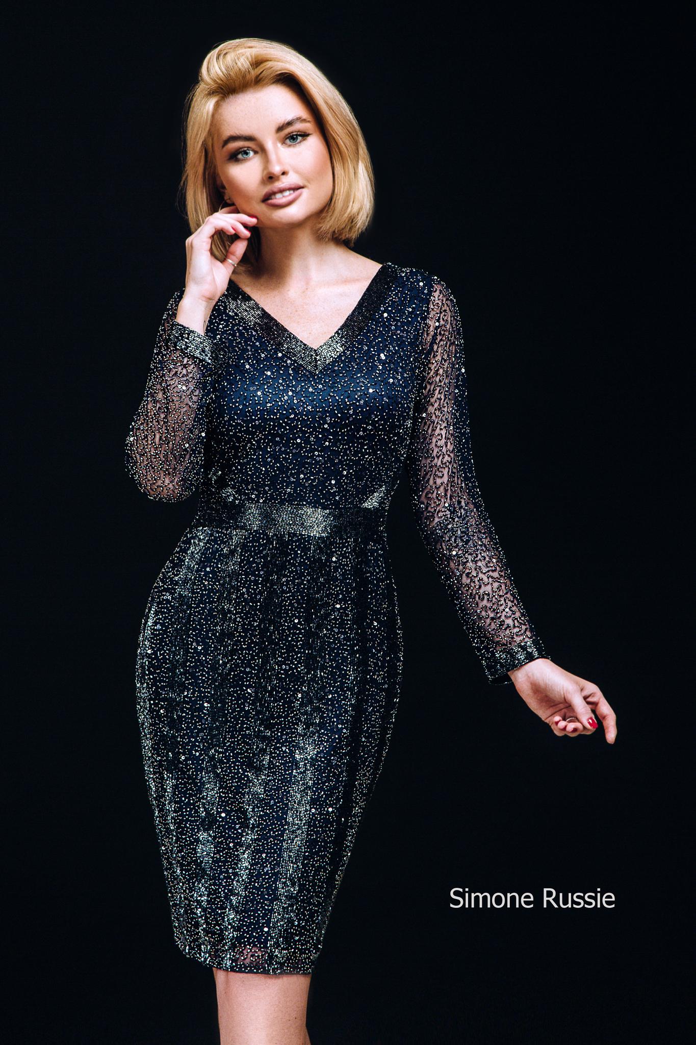 Simone Russie SR1947 Платье средней длины расшитое бисером