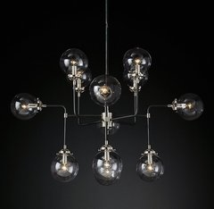 Bistro Globe Clear Glass Chandelier 12-Light