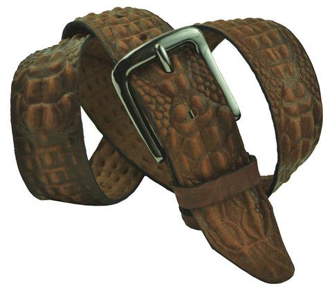 Мужской кожаный рыже-коричневый ремень под крокодила 40SVAR-C-004