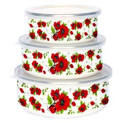 Набор 3 штуки (400 мл, 700 мл, 1000 мл) эмалированных салатников с пластиковыми крышками EM-00003A/33