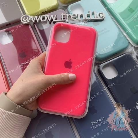Чехол iPhone 11 Pro Silicone Case Full /electric pink/
