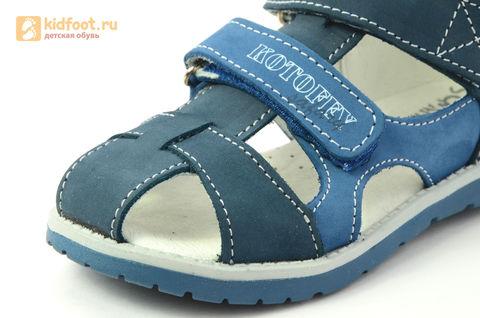 Детские сандалии Котофей 422059-21 из натуральной кожи, для мальчика, синие. Изображение 13 из 16.