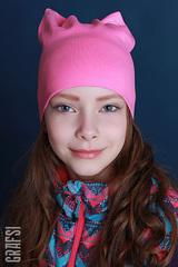 021К Шапка-кошка двухслойная с сердечками. Розовая.