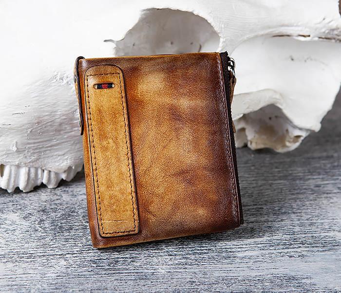 WL302-2 Мужской кошелек из кожи рыжего цвета