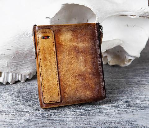 Мужской кошелек из кожи рыжего цвета
