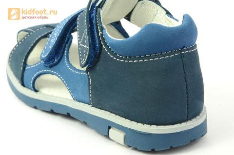 Детские сандалии Котофей 422059-21 из натуральной кожи, для мальчика, синие. Изображение 14 из 16.
