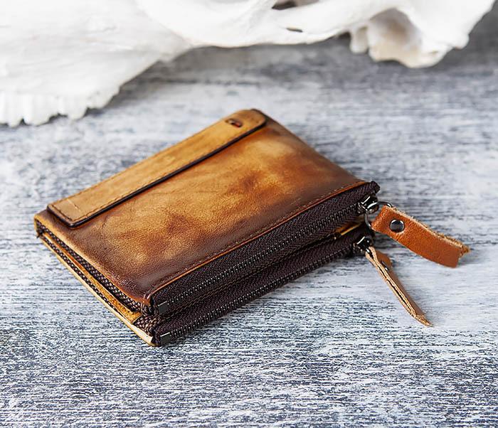 WL302-2 Мужской кошелек из кожи рыжего цвета фото 02