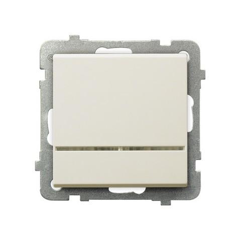 Выключатель одноклавишный с контрольной с подсветкой. Цвет Бежевый. Ospel. Sonata. LP-12RS/m/27