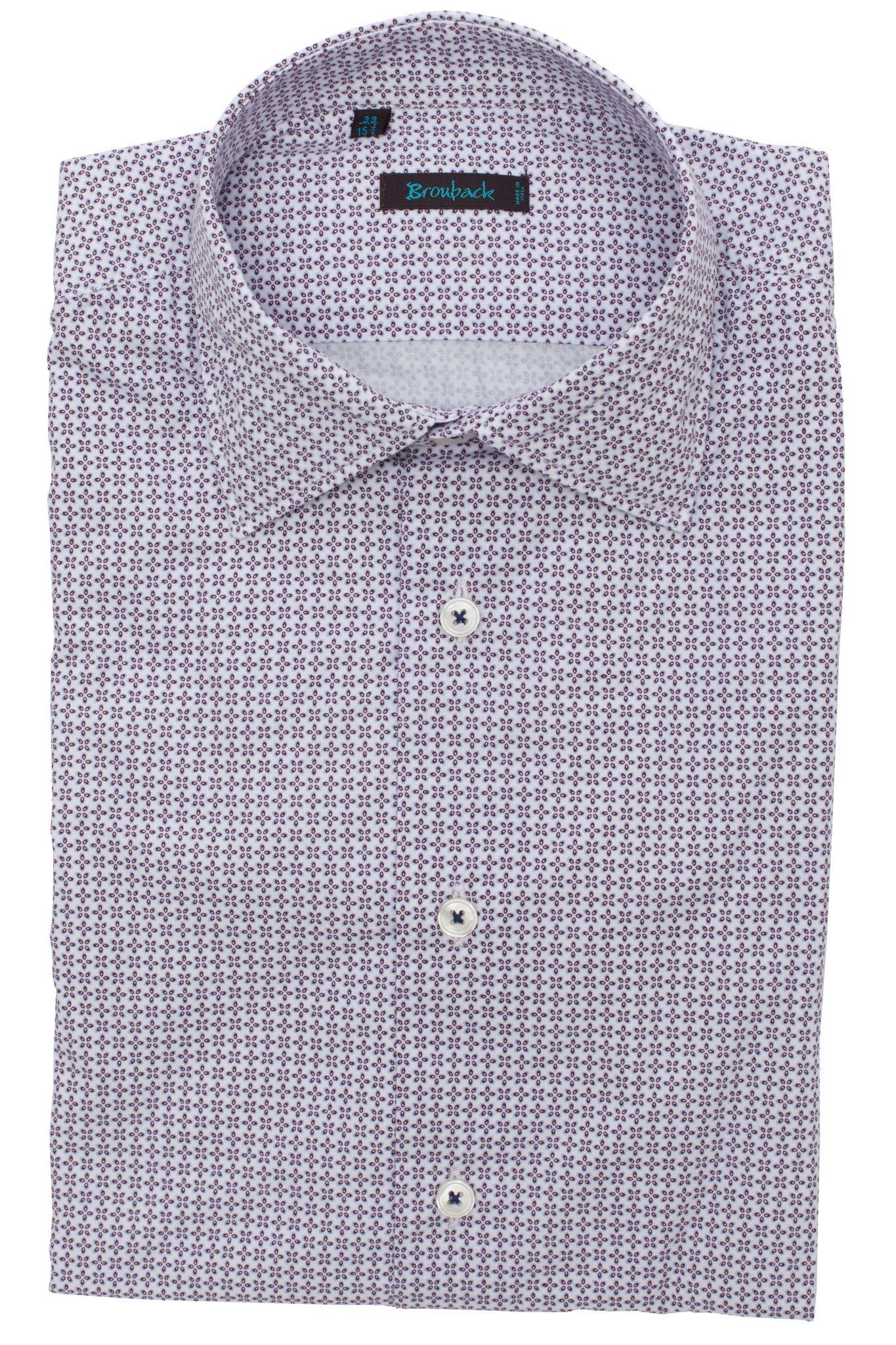 Белая рубашка с бордовым геометрическим цветочным узором