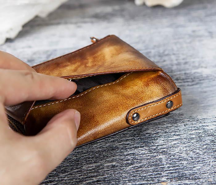 WL302-2 Мужской кошелек из кожи рыжего цвета фото 03