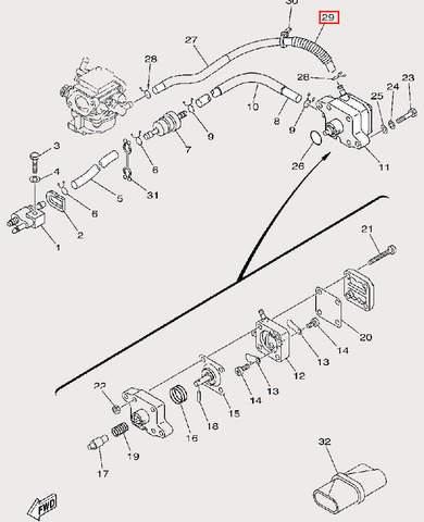 Трубка защитная Φ12×Φ16×40 для лодочного мотора F9,9 Sea-PRO (9-29)