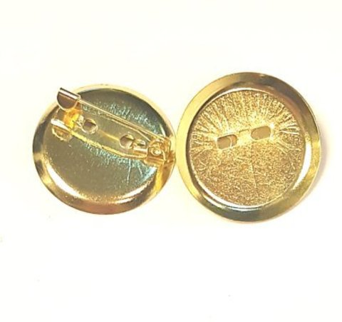 Основа для броши - диск 24 мм золото