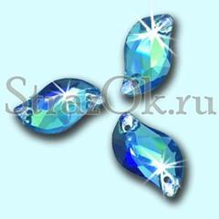 Стразы пришивные стеклянные S Shape Aquamarine AB, С Форма  Аквамарин АБ голубой с радужным покрытием на StrazOK.ru