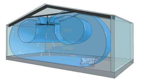 4,38 метра, 8 лопастей | Вентилятор потолочный HVLS для ферм, движения воздуха