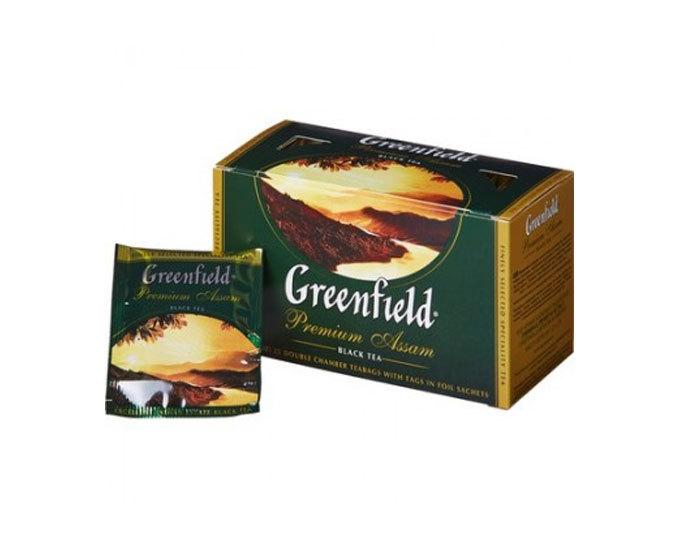 Чай черный в пакетиках из фольги Greenfield Premium Assam, 25 пак/уп (Гринфилд)