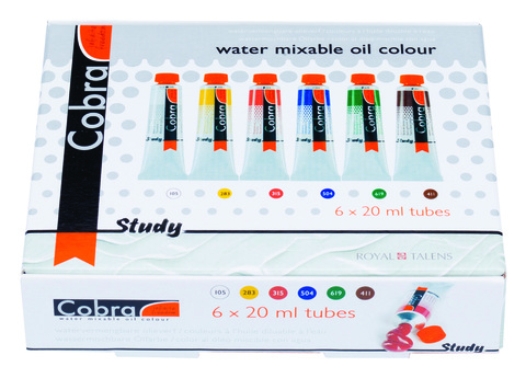 Набор водорастворимых масляных красок Cobra Study - 6 цветов в тубах по 20мл