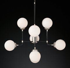 Bistro Globe Milk Glass 8-Light Chandelier