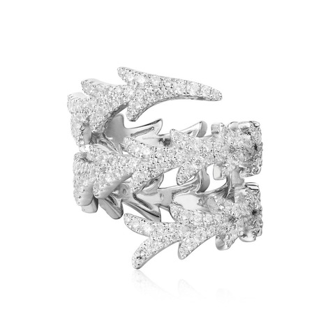 Кольцо Spiral dragon из серебра с цирконами в стиле APM MONACO